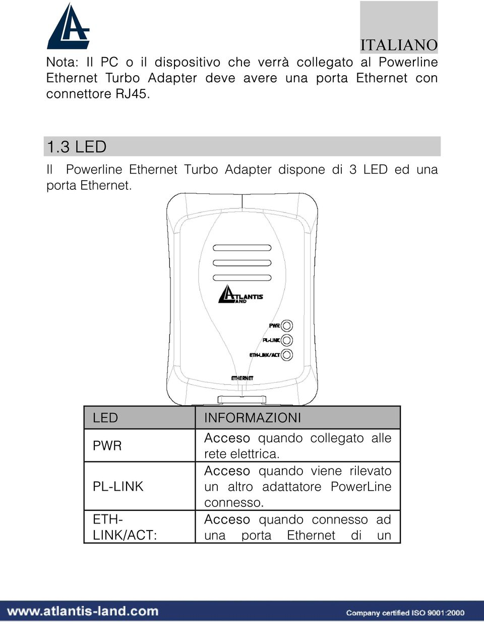 3 LED Il Powerline Ethernet Turbo Adapter dispone di 3 LED ed una porta Ethernet.