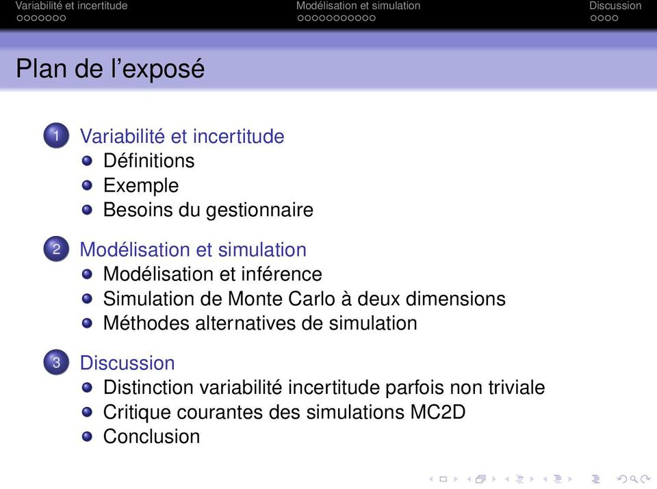 Monte Carlo à deux dimensions Méthodes alternatives de simulation 3 Discussion