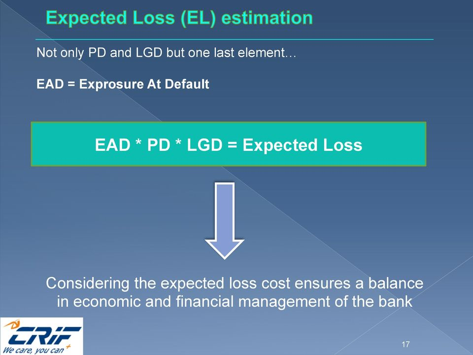 Loss Considering the expected loss cost ensures a