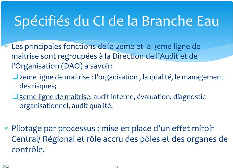 management des risques; 3eme ligne de maitrise: audit interne, évaluation, diagnostic organisationnel, audit qualité.