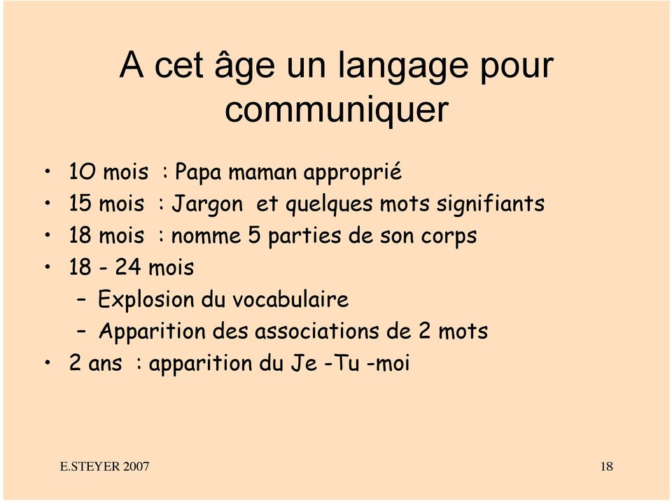 parties de son corps 18-24 mois Explosion du vocabulaire Apparition