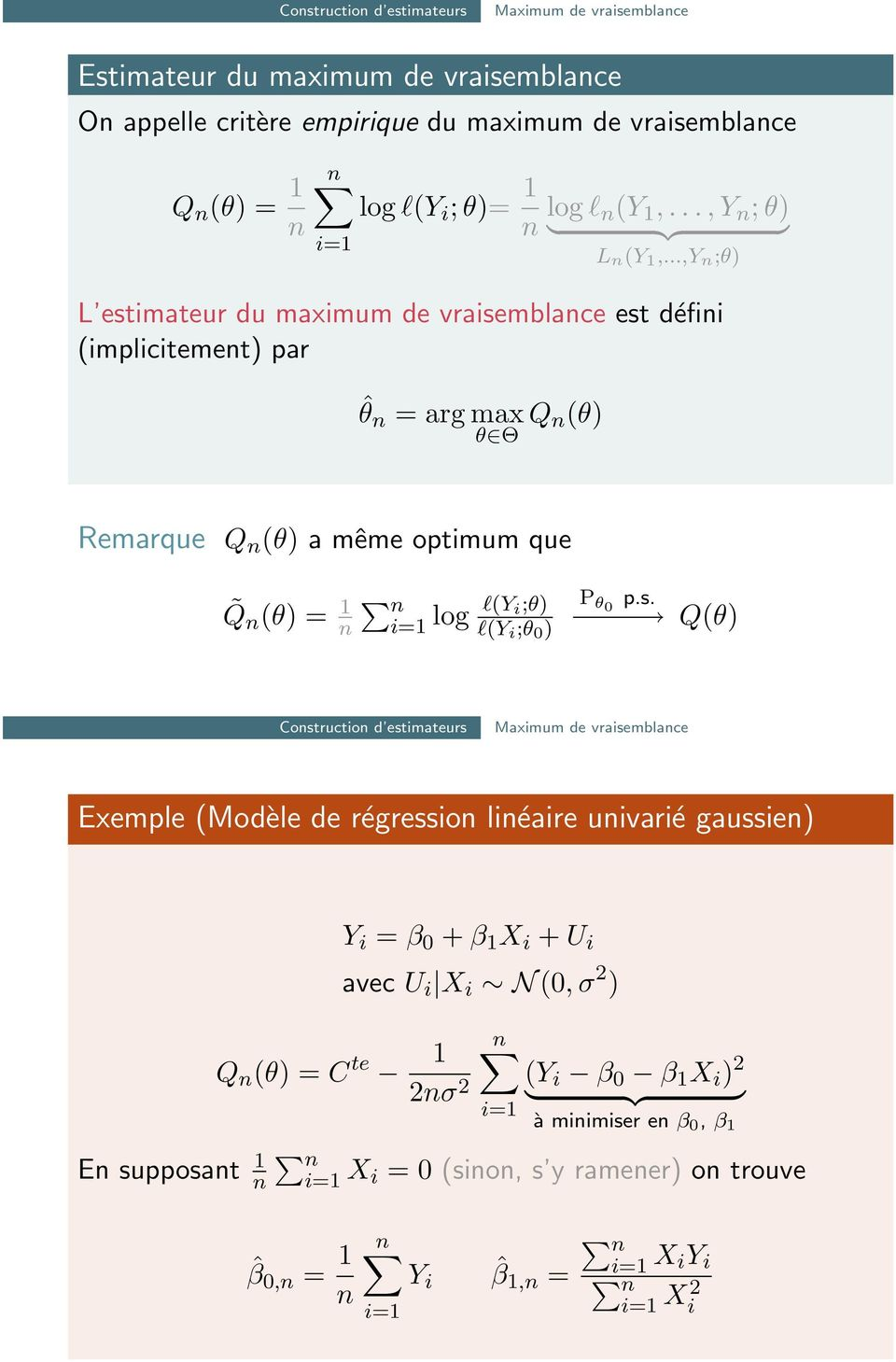 ..,Y n ;θ) L estimateur du maximum de vraisemblance est défini (implicitement) par ˆθ n = arg max θ Θ Q n(θ) Remarque Q n (θ) a même optimum que Q n (θ) = n n log l(y i;θ) l(y i ;θ )