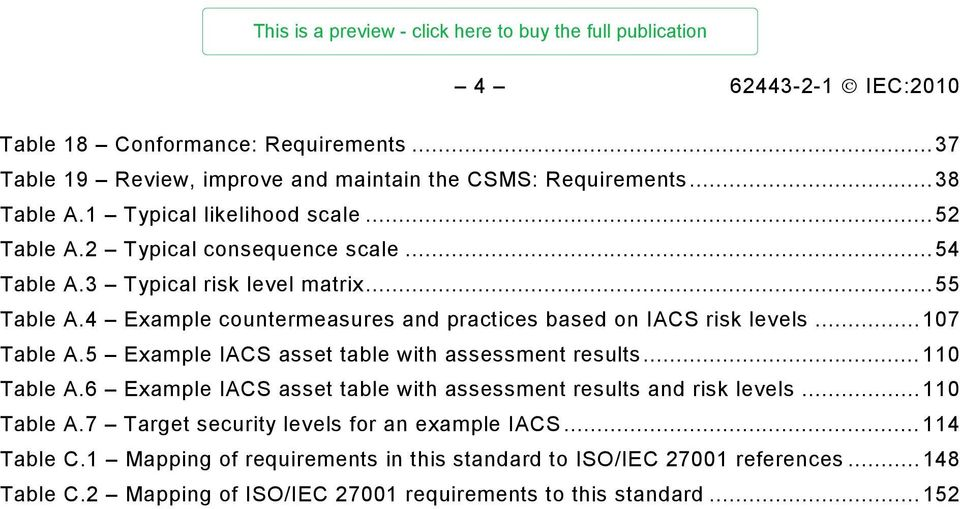 .. 107 Table A.5 Example IACS asset table with assessment results... 110 Table A.6 Example IACS asset table with assessment results and risk levels... 110 Table A.7 Target security levels for an example IACS.