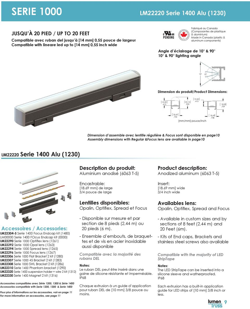 Dimensions: [mm/mm] pouce/inch Dimension d assemble avec lentille régulière & Focus sont disponible en page10 Assembly dimensions with Regular &Focus lens are available in page10 LM22220 Serie 1400