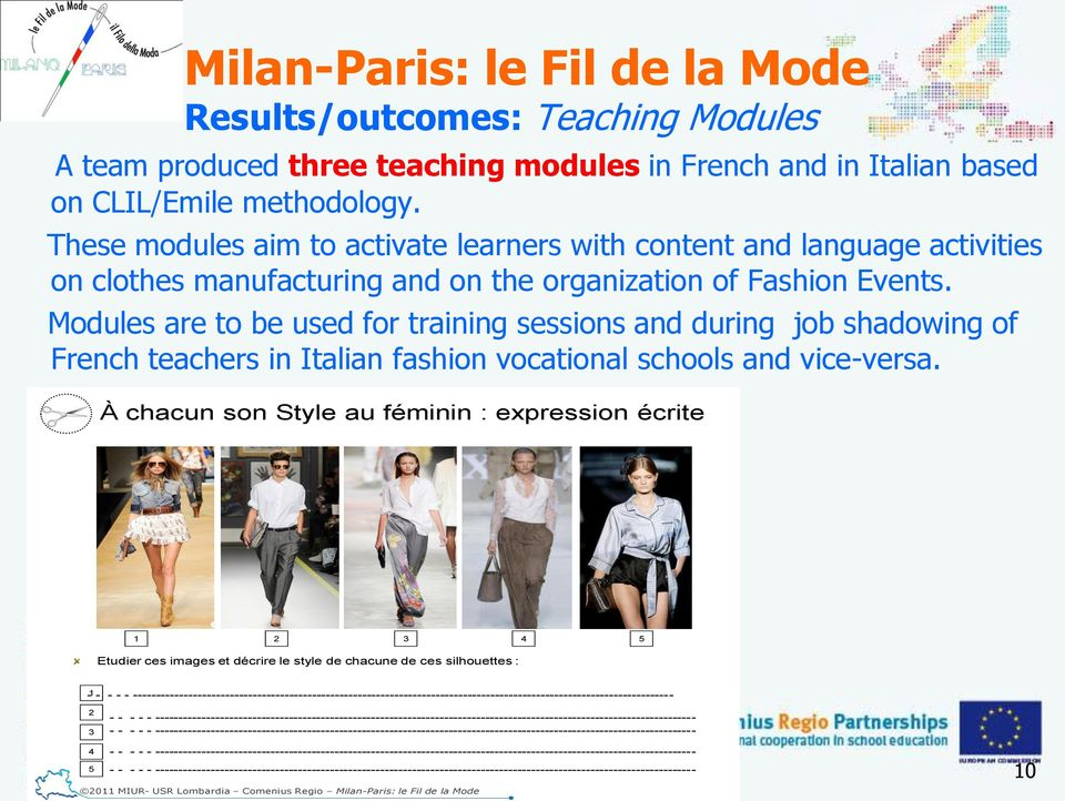 Modules are to be used for training sessions and during job shadowing of French teachers in Italian fashion vocational schools and vice-versa.
