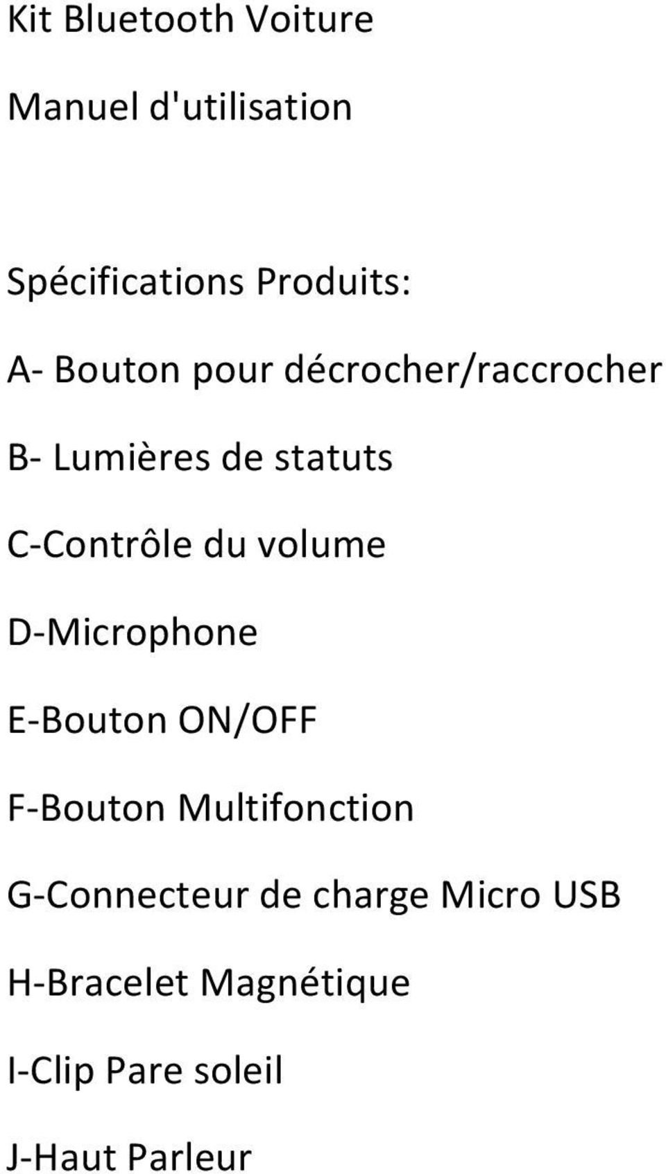 volume D- Microphone E- Bouton ON/OFF F- Bouton Multifonction G-