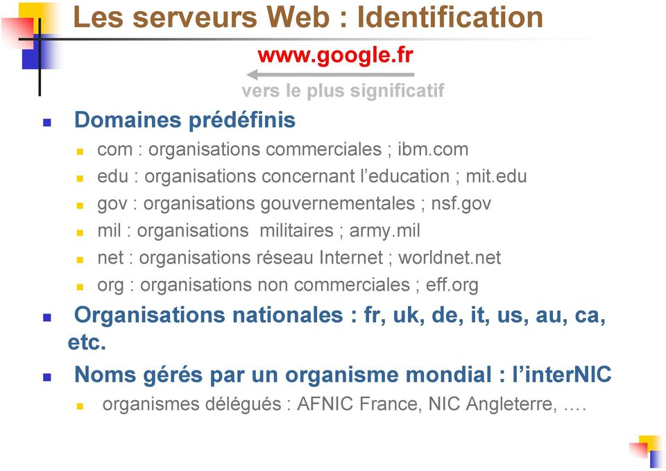 gov mil : organisations militaires ; army.mil net : organisations réseau Internet ; worldnet.