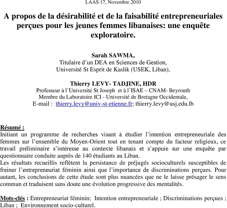 du Laboratoire ICI - Université de Bretagne Occidentale, E-mail : thierry.levy@univ-st-etienne.fr; thierry.levy@usj.edu.