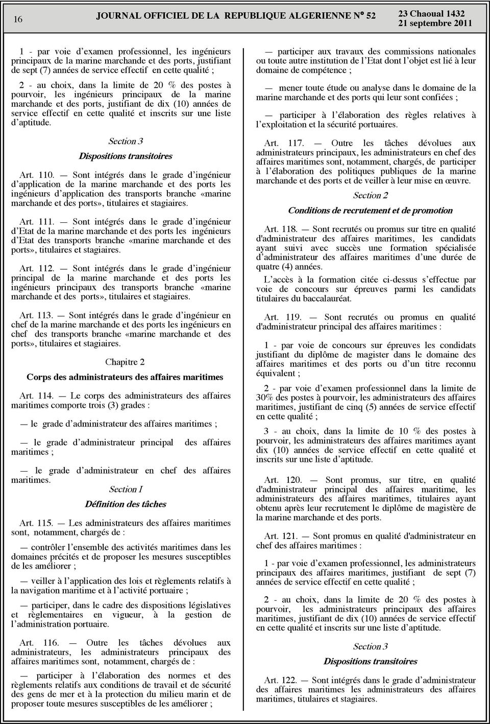 une liste d aptitude. Section 3 Dispositions transitoires Art. 110.