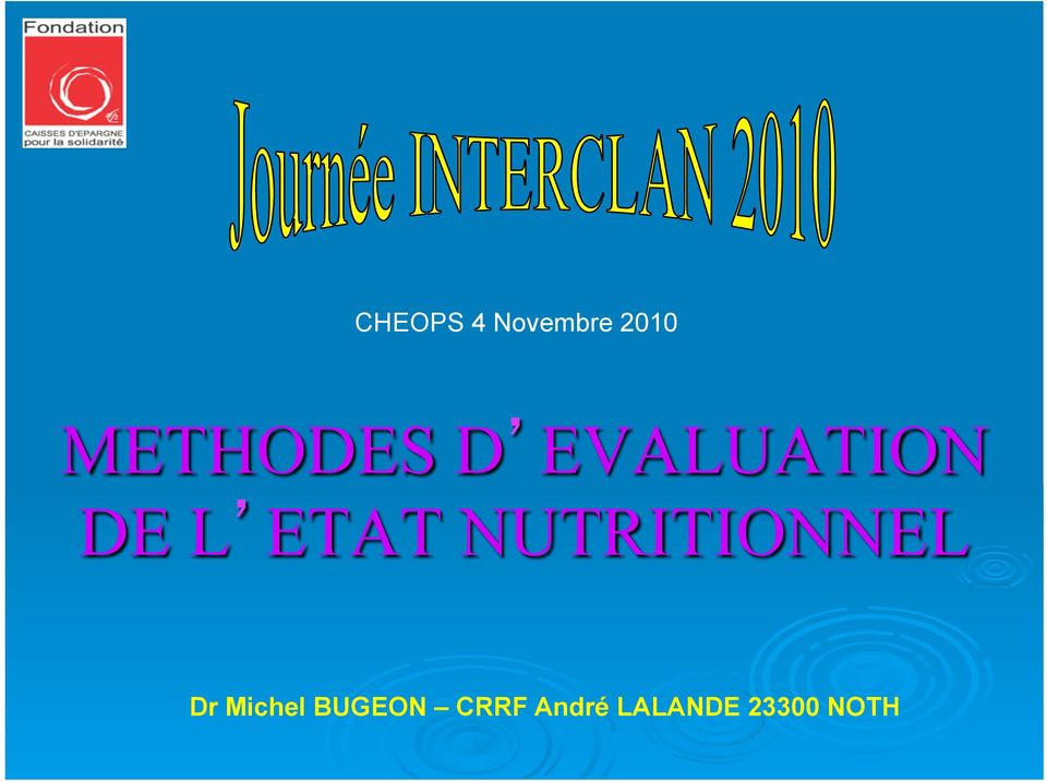 ETAT NUTRITIONNEL Dr Michel