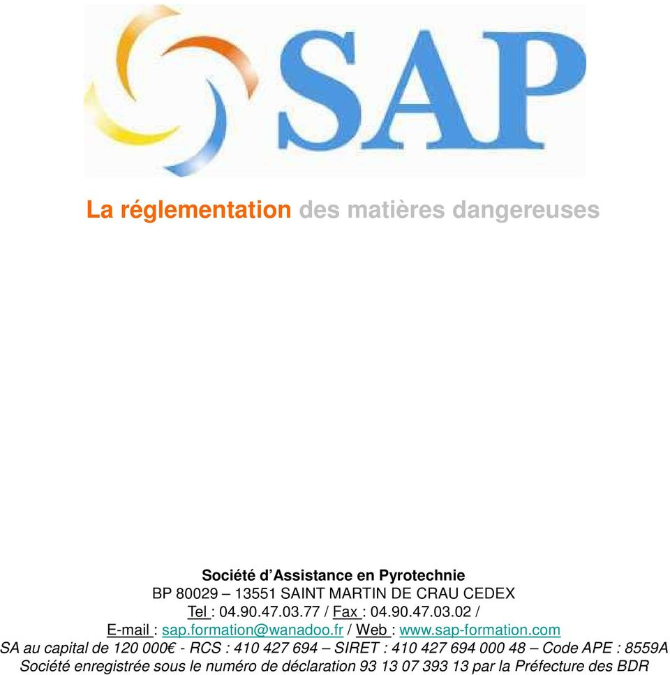 fr / Web : www.sap-formation.