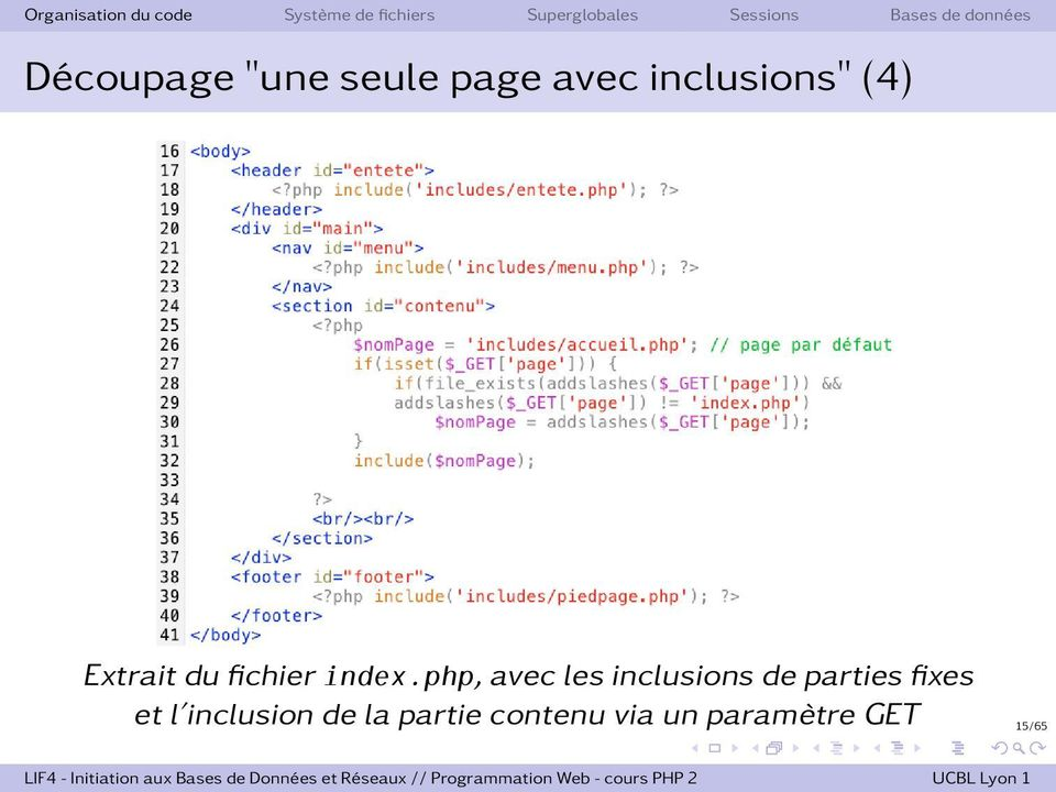php, avec les inclusions de parties fixes