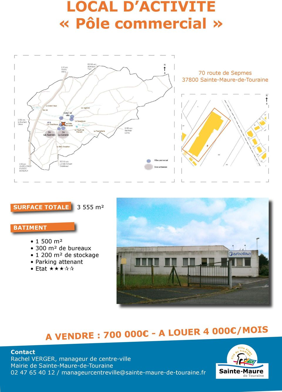 300 m² de bureau 1 200 m² de stockage Parking