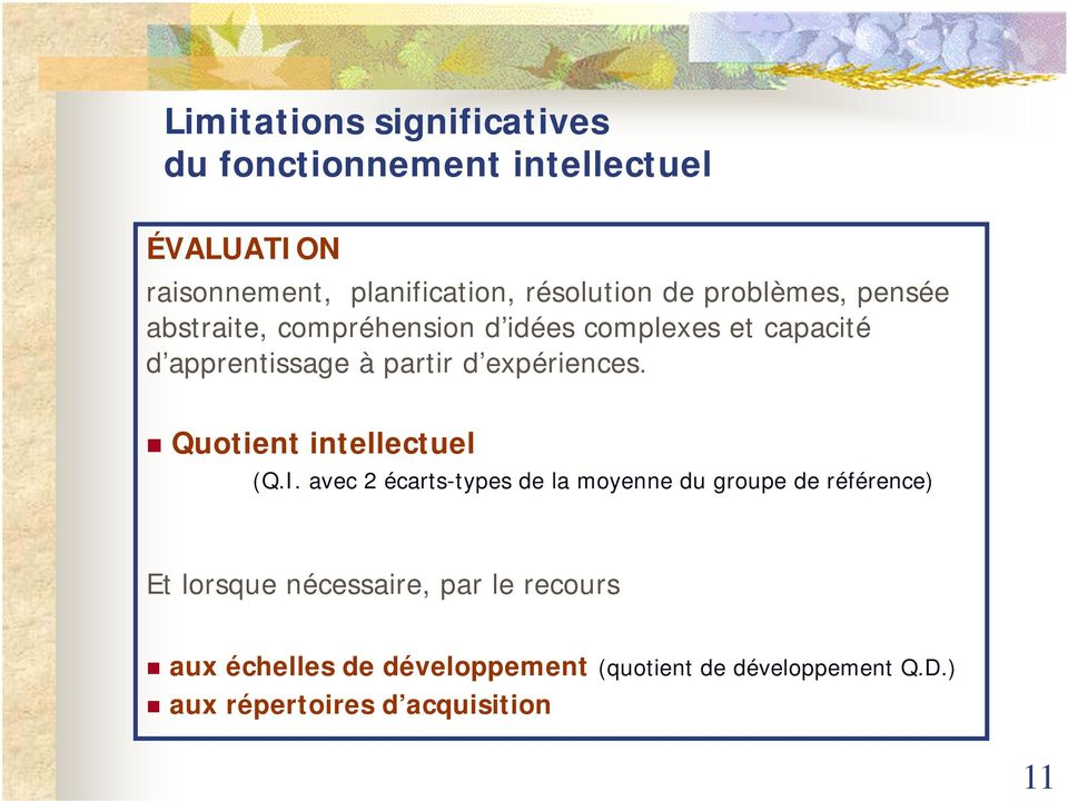 expériences. Quotient intellectuel (Q.I.