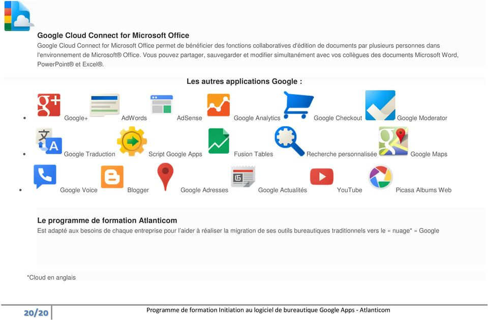 Les autres applications Google : Google+ AdWords AdSense Google Analytics Google Checkout Google Moderator Google Traduction Script Google Apps Fusion Tables Recherche personnalisée Google Maps