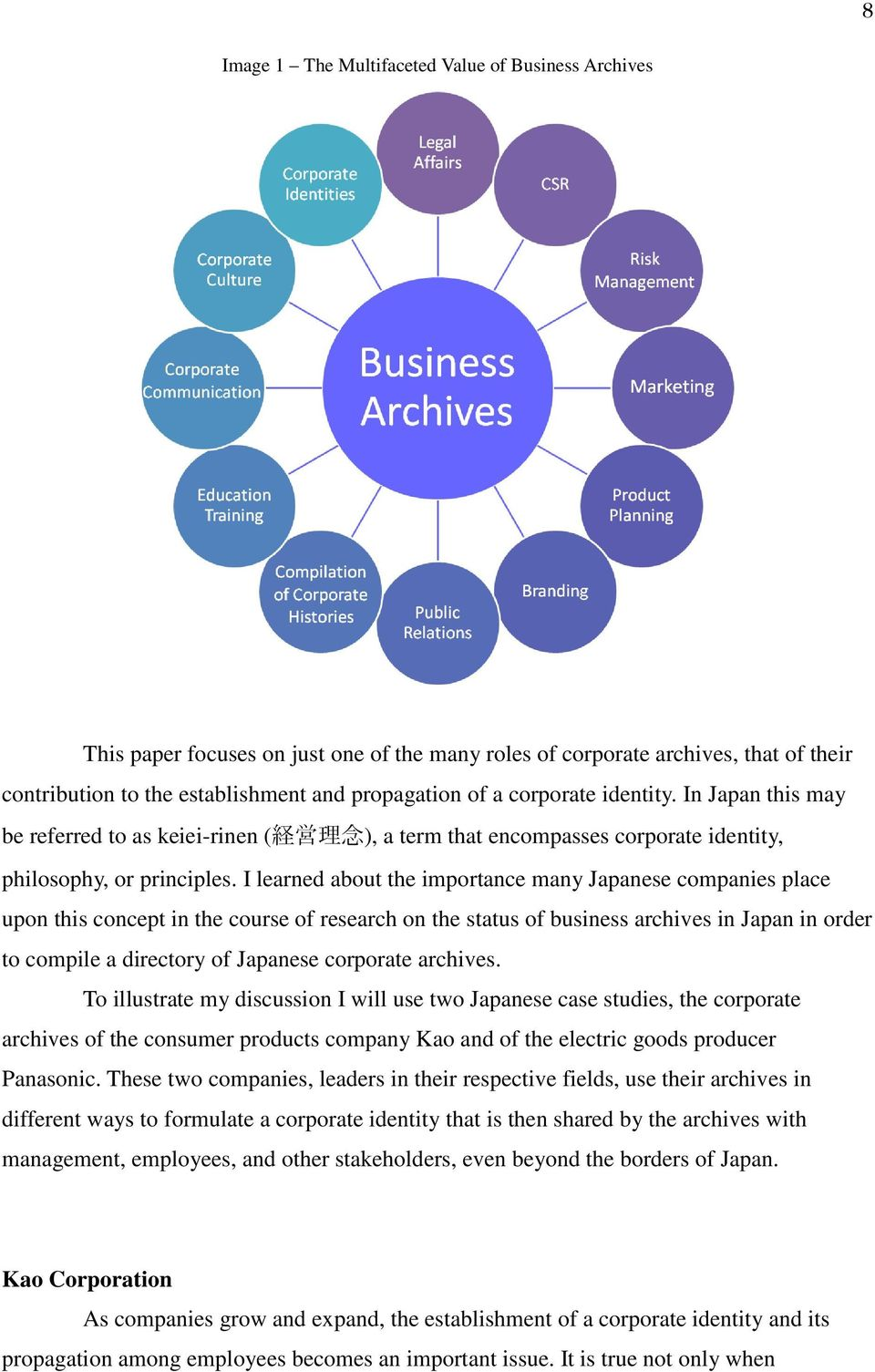 I learned about the importance many Japanese companies place upon this concept in the course of research on the status of business archives in Japan in order to compile a directory of Japanese