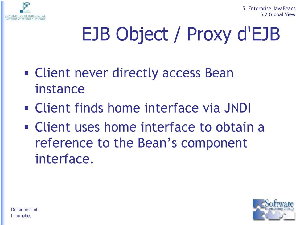 interface via JNDI Client uses home interface