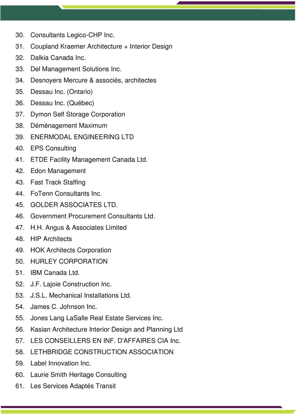 Edon Management 43. Fast Track Staffing 44. FoTenn Consultants Inc. 45. GOLDER ASSOCIATES LTD. 46. Government Procurement Consultants Ltd. 47. H.H. Angus & Associates Limited 48. HIP Architects 49.