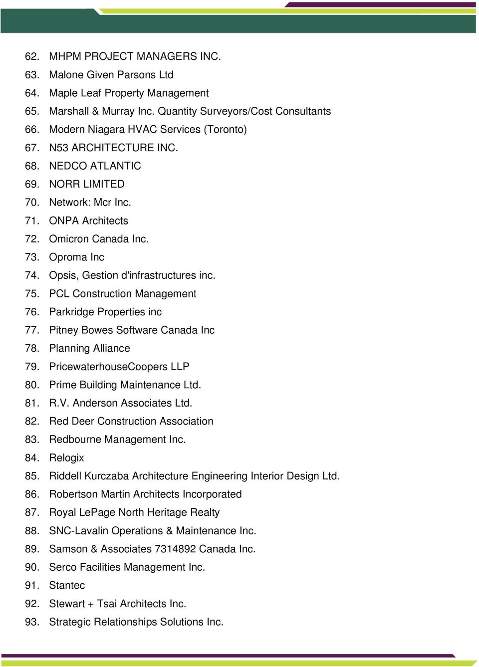 Opsis, Gestion d'infrastructures inc. 75. PCL Construction Management 76. Parkridge Properties inc 77. Pitney Bowes Software Canada Inc 78. Planning Alliance 79. PricewaterhouseCoopers LLP 80.