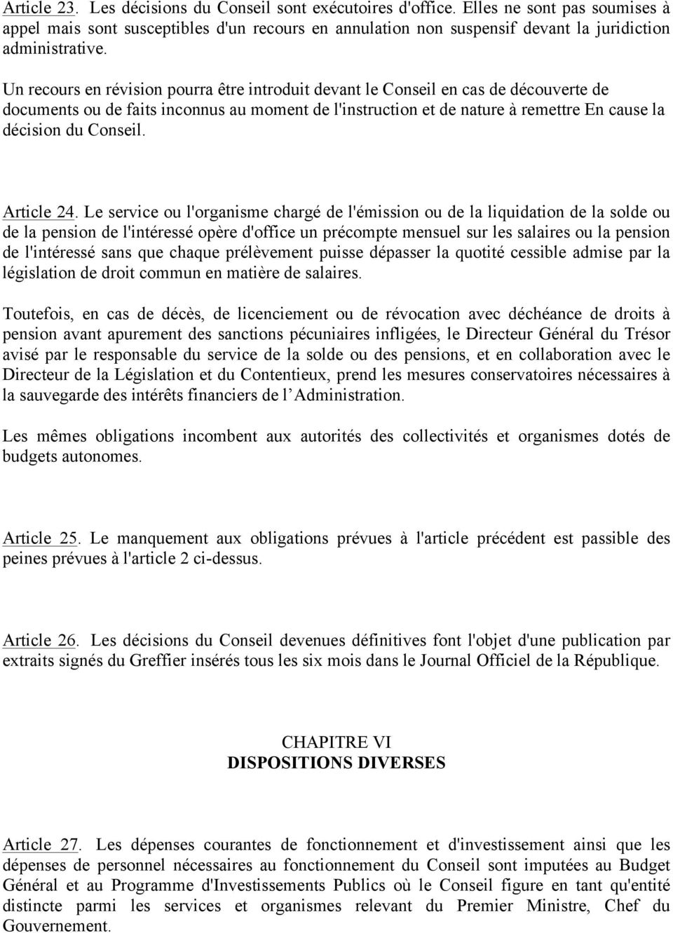 Conseil. Article 24.