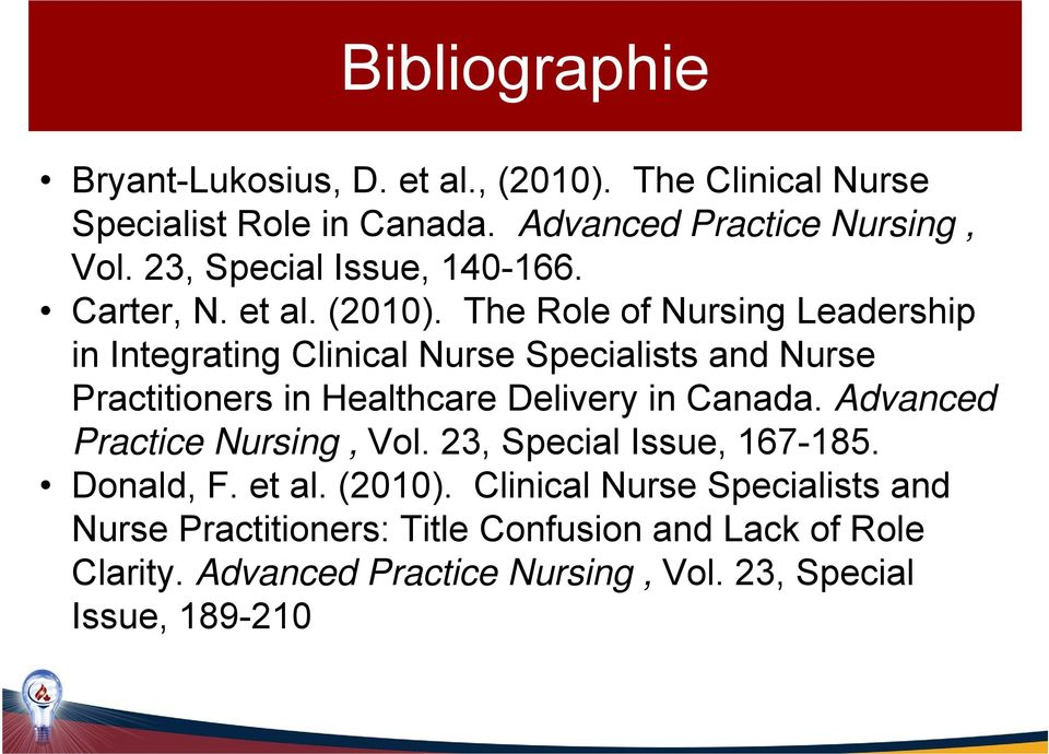 The Role of Nursing Leadership in Integrating Clinical Nurse Specialists and Nurse Practitioners in Healthcare Delivery in Canada.