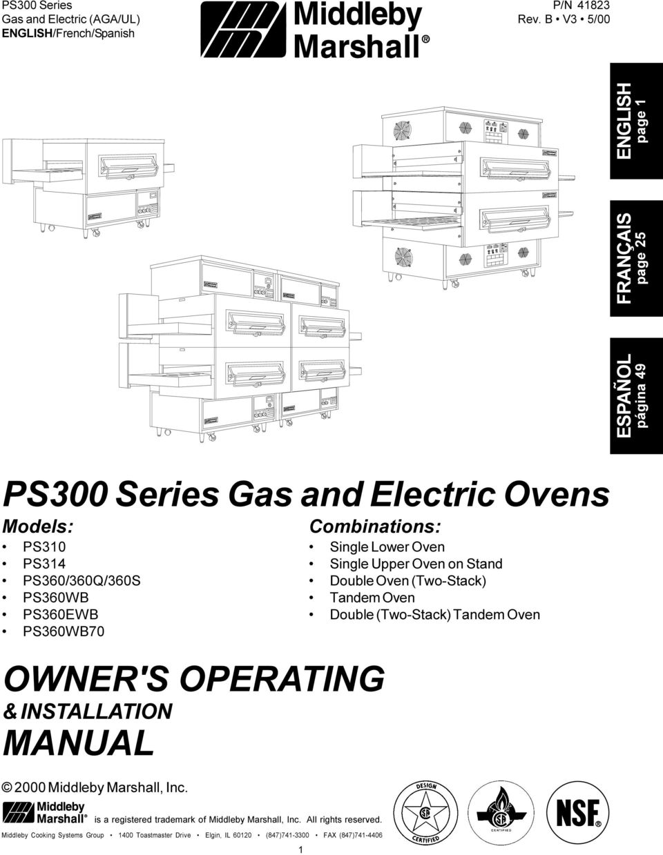 PS360WB70 OWNER'S OPERATING & INSTALLATION MANUAL 2000 Middleby Marshall, Inc.