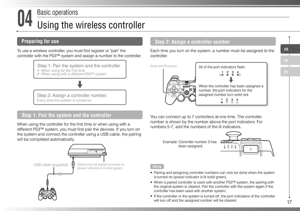 Every time the system is turned on Step 2: Assign a controller number Each time you turn on the system, a number must be assigned to the controller. Press the PS button.