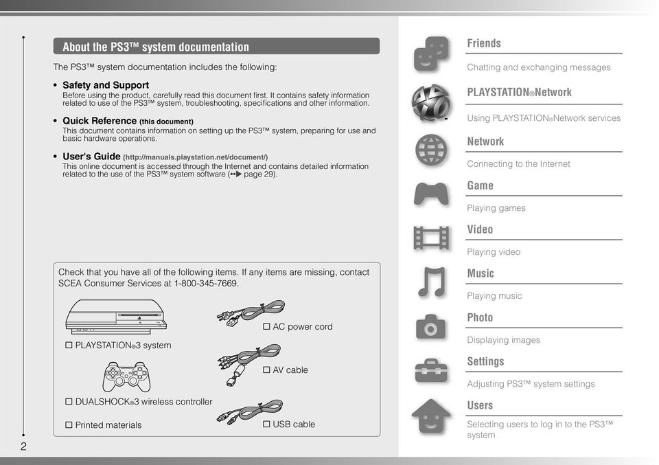 Quick Reference (this document) This document contains information on setting up the PS3 system, preparing for use and basic hardware operations. User's Guide (http://manuals.playstation.