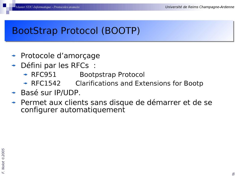 and Extensions for Bootp Basé sur IP/UDP.