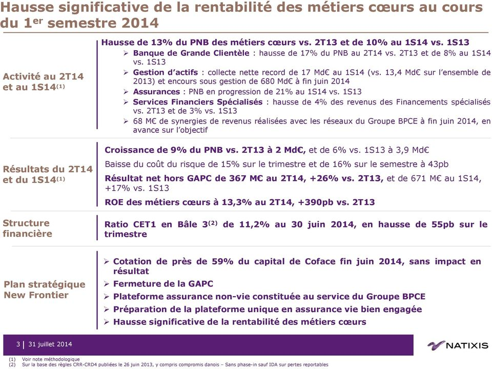 13,4 Md sur l ensemble de 2013) et encours sous gestion de 680 Md à fin juin 2014 Assurances : PNB en progression de 21% au 1S14 vs.