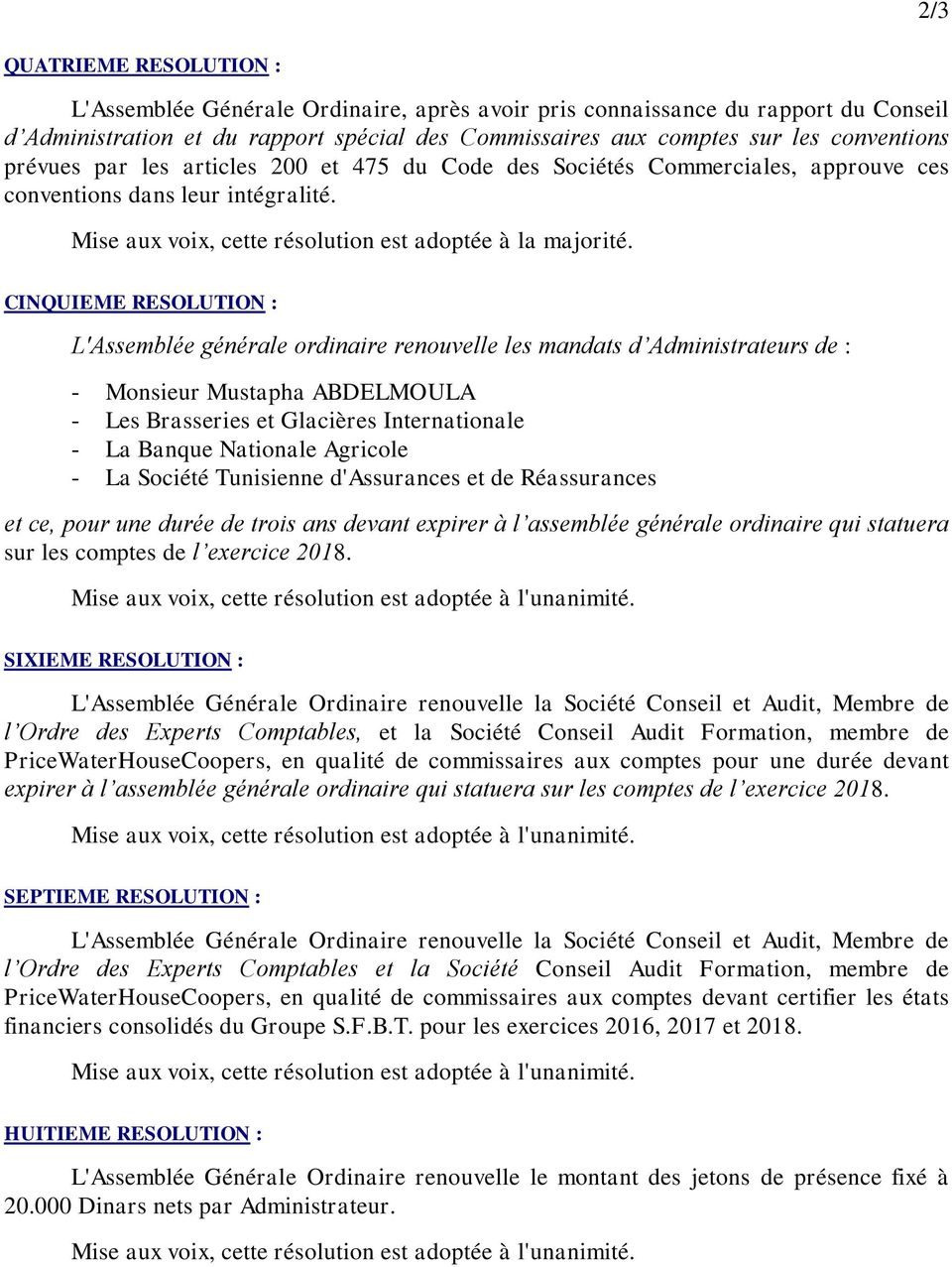 CINQUIEME RESOLUTION : L'Assemblée générale ordinaire renouvelle les mandats d Administrateurs de : - Monsieur Mustapha ABDELMOULA - Les Brasseries et Glacières Internationale - La Banque Nationale