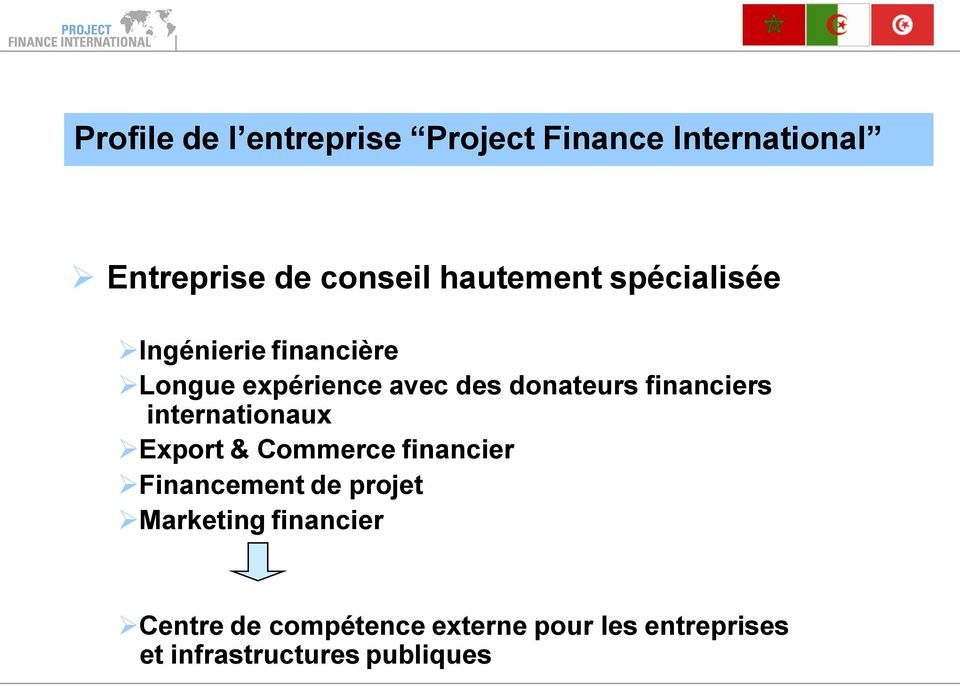 financiers internationaux Export & Commerce financier Financement de projet