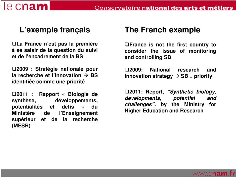 supérieur et de la recherche (MESR) The French example France is not the first country to consider the issue of monitoring and controlling SB 2009: National