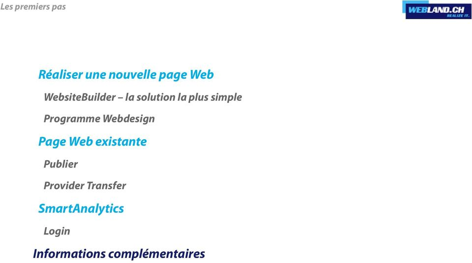 Page Web existante Publier Provider Transfer