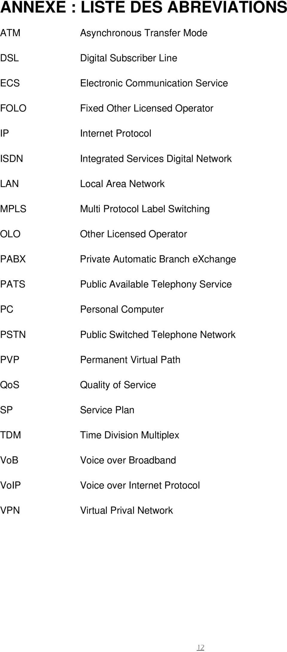 Protocol Label Switching Other Licensed Operator Private Automatic Branch exchange Public Available Telephony Service Personal Computer Public Switched