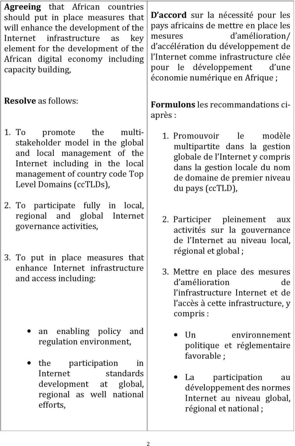 To promote the multistakeholder model in the global and local management of the Internet including in the local management of country code Top Level Domains (cctlds), 2.