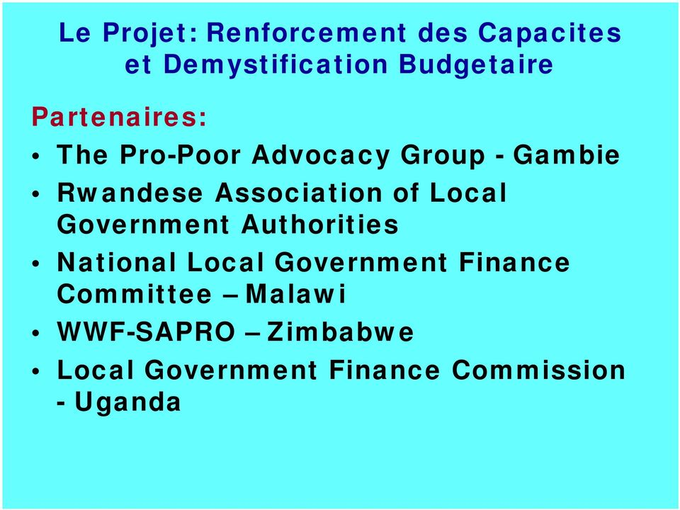 of Local Government Authorities National Local Government Finance