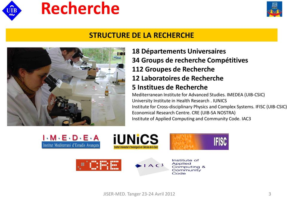 IMEDEA (UIB-CSIC) University Institute in Health Research. IUNICS Institute for Cross-disciplinary Physics and Complex Systems.