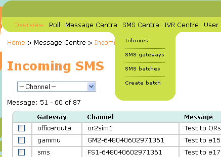 THE SMS CENTRE T his section requires translation. T he new SMS Centre menu provides links to all SMS related actions.