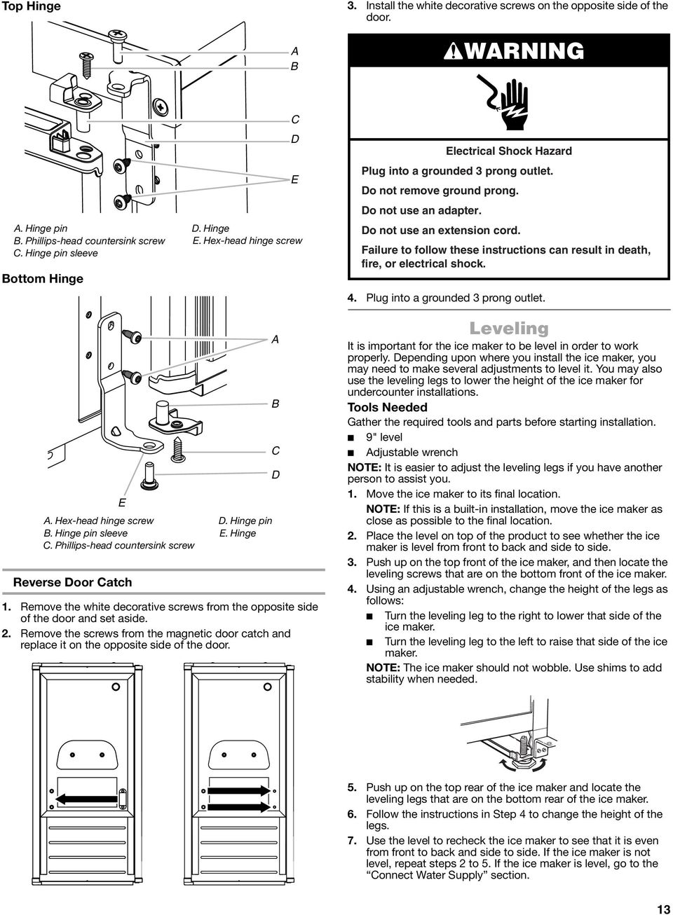 Failure to follow these instructions can result in death, fire, or electrical shock. 4. Plug into a grounded 3 prong outlet. E. Hex-head hinge screw. Hinge pin sleeve.
