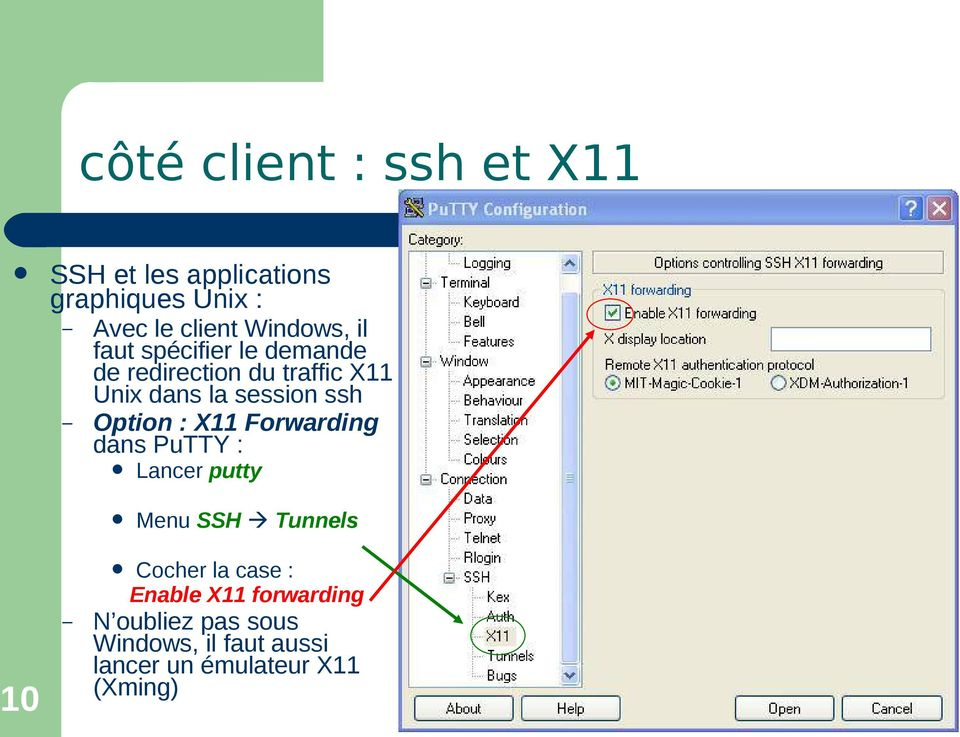 ssh Option : X11 Forwarding dans PuTTY : Lancer putty Menu SSH Tunnels 10 Cocher la case