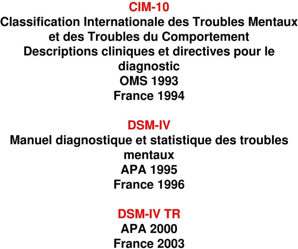 diagnostic OMS 1993 France 1994 DSM-IV Manuel diagnostique et