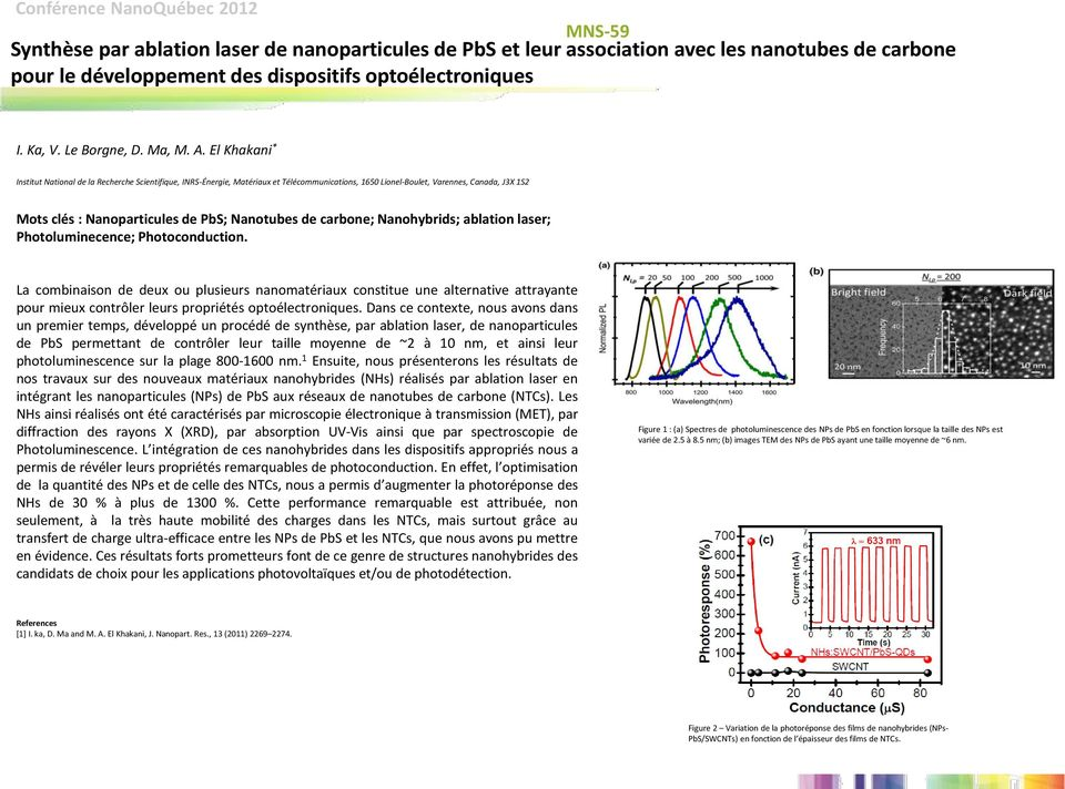 de carbone; Nanohybrids; ablation laser; Photoluminecence; Photoconduction.