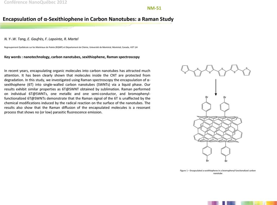 sexithiophene, Raman spectroscopy In recent years, encapsulating organic molecules into carbon nanotubes has attracted much attention.
