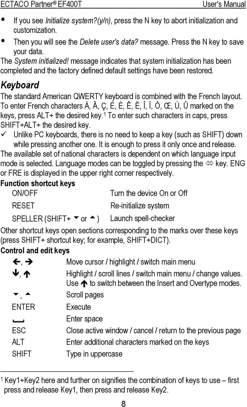 Keyboard The standard American QWERTY keyboard is combined with the French layout. To enter French characters À, Â, Ç, É, È, Ê, Ë, Î, Ï, Ô, Œ, Ù, Û marked on the keys, press ALT+ the desired key.