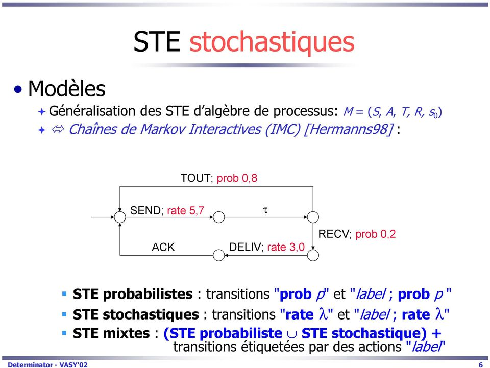 "probabilistes : transitions ""prob p"" et ""label ; prob p "" STE stochastiques : transitions ""rate λ"" et ""label ;"