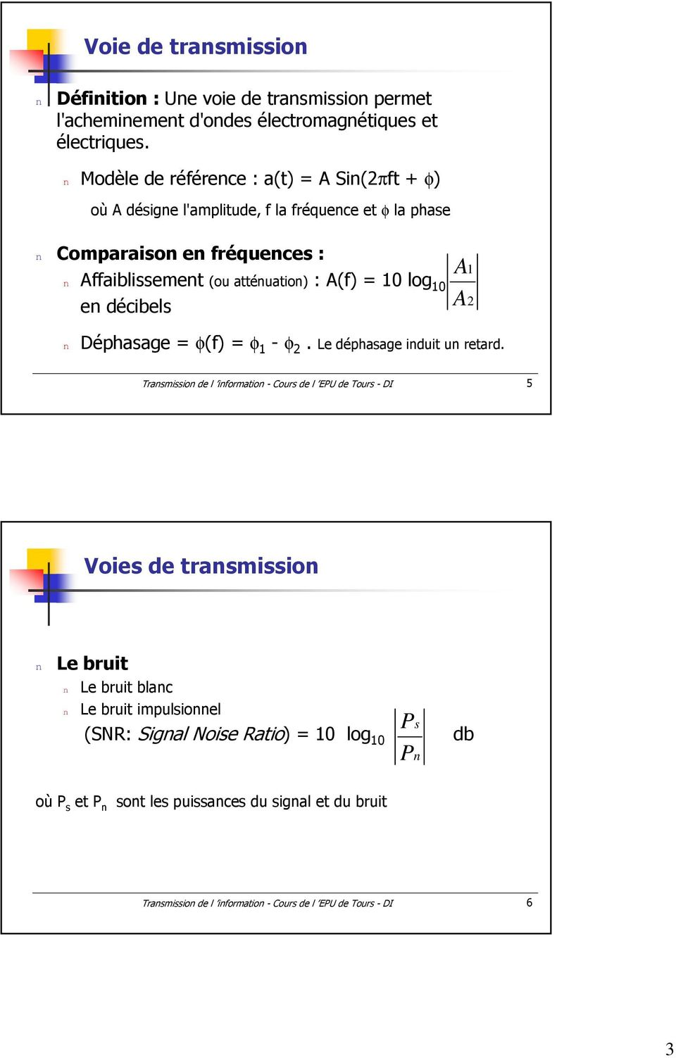 10 log 10 e décibels A A 1 2 Déphasage = φ(f) = φ 1 - φ 2. Le déphasage iduit u retard.