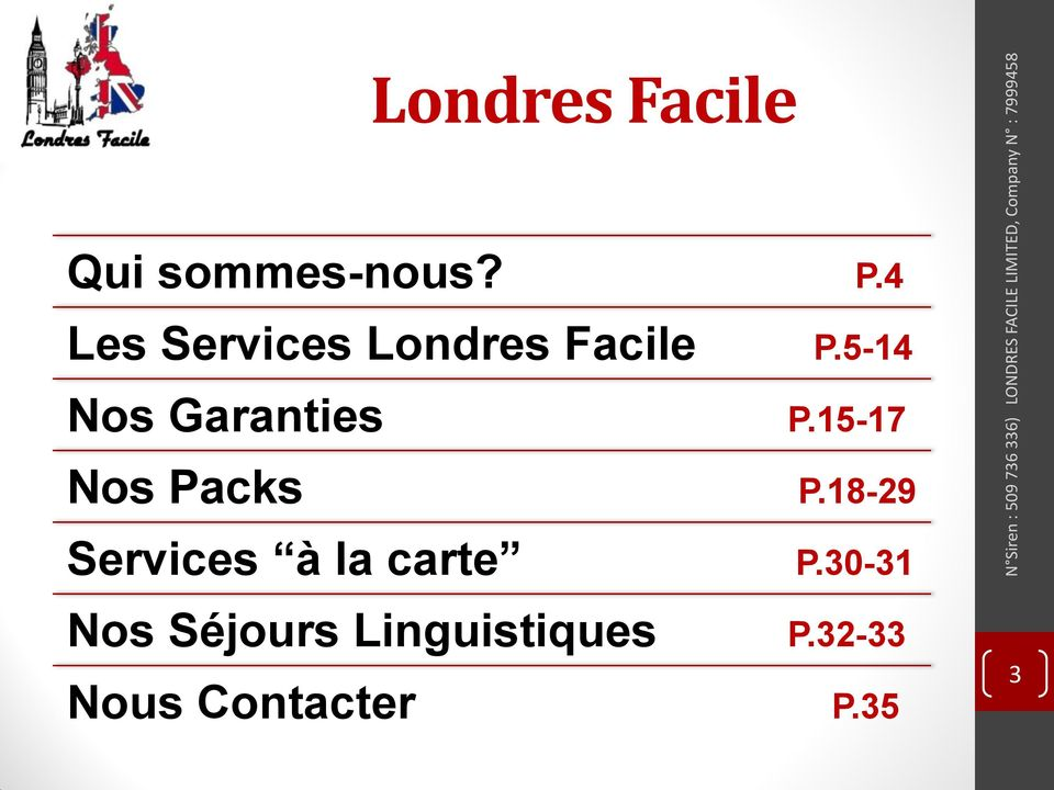 Packs Services à la carte Nos Séjours