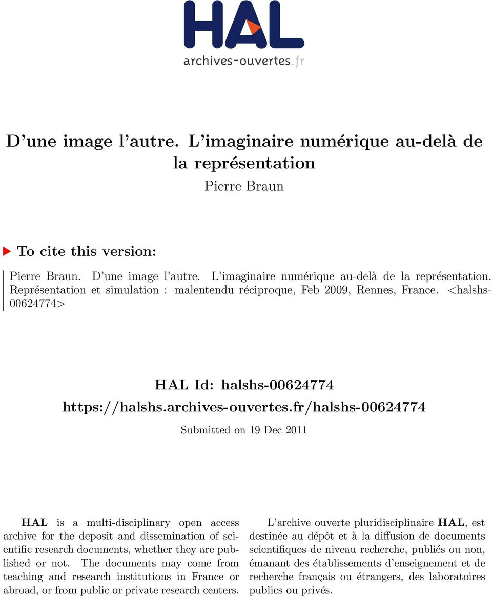 fr/halshs-00624774 Submitted on 19 Dec 2011 HAL is a multi-disciplinary open access archive for the deposit and dissemination of scientific research documents, whether they are published or not.