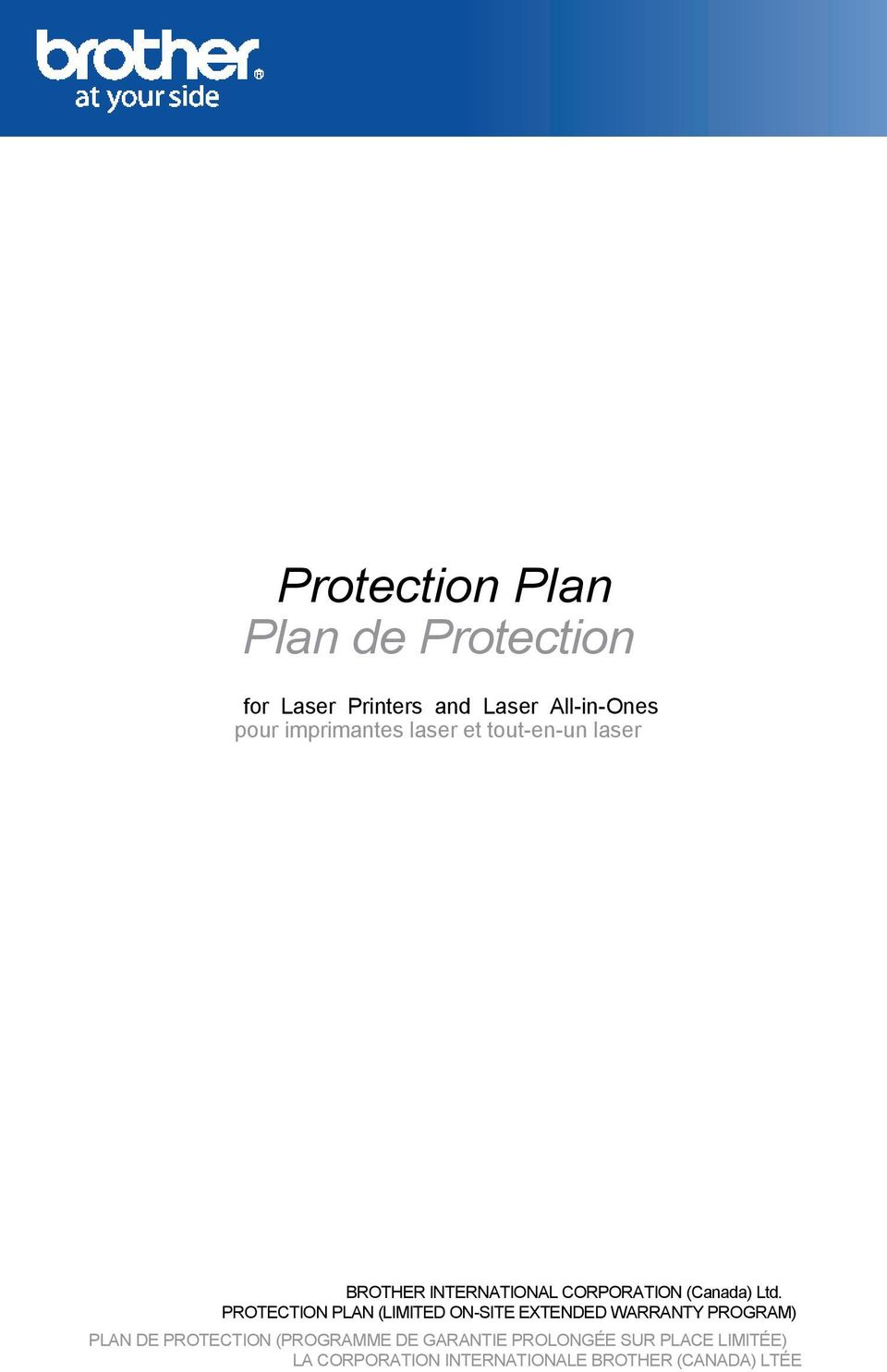 PROTECTION PLAN (LIMITED ON-SITE EXTENDED WARRANTY PROGRAM) PLAN DE PROTECTION